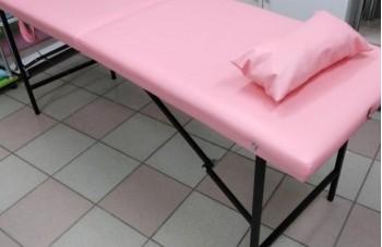Розовая косметологическая кушетка